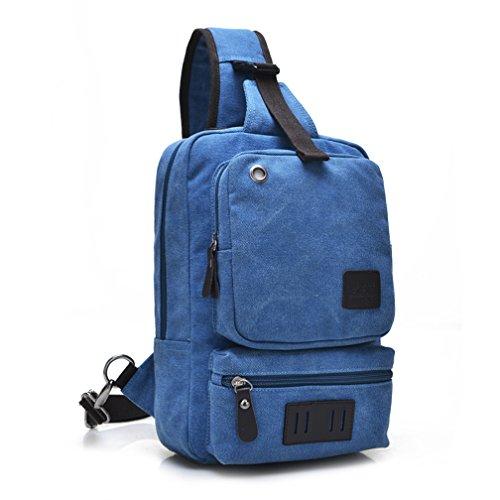 Umhängetasche Outdoor Schleuder Tasche Brust Segeltuch-Riemen-Beutel-Kasten-Beutel-Satz-Kurier-Beutel für Mann-Frauen-im Freienwandern des Fahrrades Blau