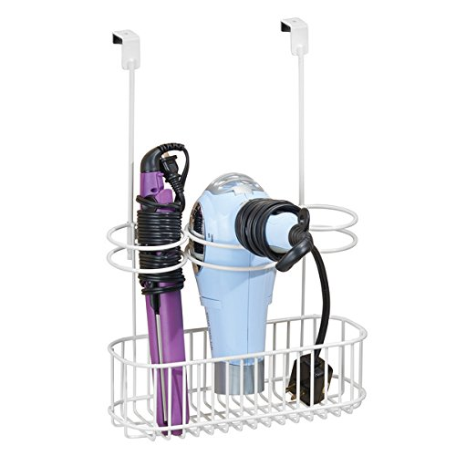 mDesign boîte de rangement sans perçage – boîte de rangement salle de bain en métal – organisateur salle de bain idéal pour sèche cheveux, lisseurs, etc.
