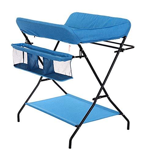 Tables à langer Table à langer pliante pour petits espaces, Toddler Infant Portable Station de couche-culotte Pépinière Commode Style de jambe croisée, Bleu