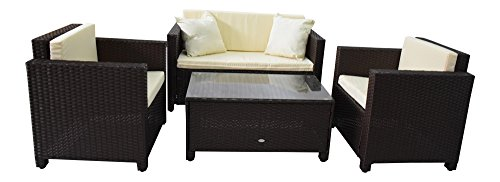 Gartenmöbel Garten Lounge Sitzgruppe Rattan Cannes brown - 3