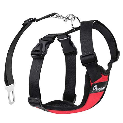 Pawaboo Pettorina di Sicurezza per Cani, Imbracatura Regolabile per Auto Viaggio Cintura con Clip per Cintura Auto, Taglia Medio, Rosso