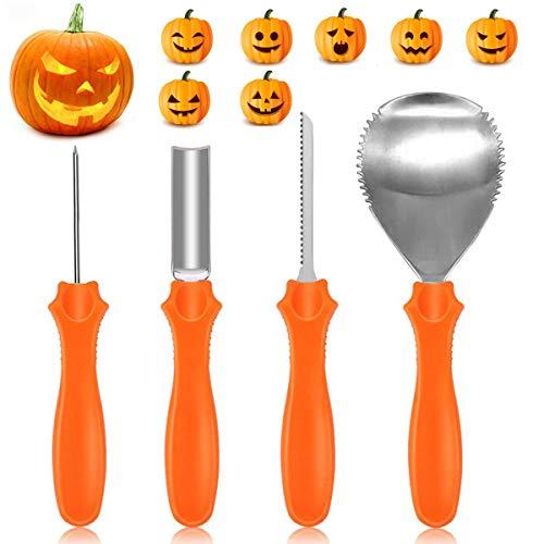 Yifone Herramientas de Talla de Calabaza, 4PCS Pumpkin Carving Kit Acero...