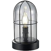 Trio Birte - Lámpara de sobremesa, color negro y cristal transparente