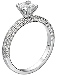 Diamond Engagement Ring in 14K Gold / White - GIA Certified, Princess, 0.59 Carat, F Color, VS2 Clarity