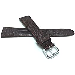 18mm, Brown Womens', Slim, Lizard Style, Genuine Leather Watch Band Strap, Also Comes in Black, Tan and Blue