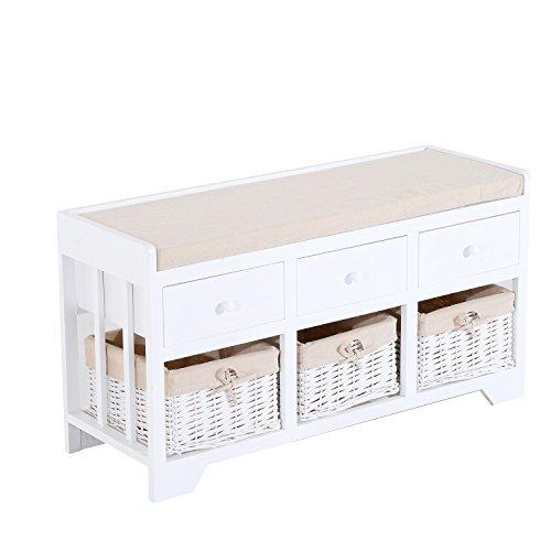 Kleiner Eingangsbereich Bank (Homcom Holz Einheit Aufbewahrung Bench Holz Sitz Sitzer Spaltweide Körbe Schubladen Flur Veranda Weiß w/Kissen und abnehmbarem Innenfutter (3Schubladen & 3Körben))