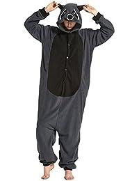 Unisex Animal Pijama Ropa de Dormir Cosplay Kigurumi Onesie Mapache Gris Disfraz para Adulto Entre 1