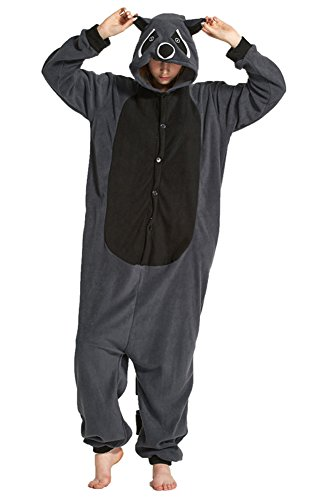 DATO Tier Pyjama Grau Waschbär Erwachsene Unisex Cospaly -