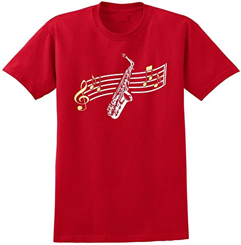 Saxophone Sax Alto Curved Stave - Red Rot T Shirt Größe 87cm 36in Small MusicaliTee -