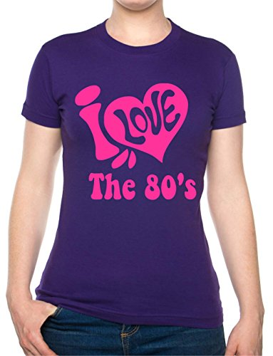I Love the 80's Ladies Purple and Pink T-shirt