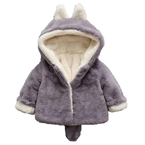 Ohmais Unisex Jungen Mädchen Winter Down Jacket verdickte Winterjacke Jungen Mantel verdickte Trenchcoat Jungen Outerwear Grau