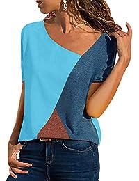 T-Shirt Damen V Ausschnitt Kurzarm/Langarm Sommer Casual Farbblock T Shirt Top Bluse Oberteil