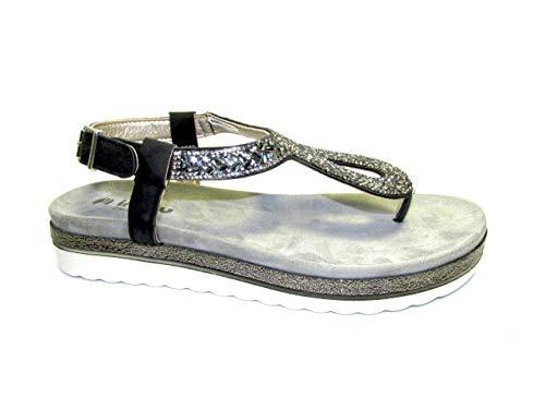 INBLU Sandali con Cinturino alla Caviglia Donna, (Nero 014), 38 EU