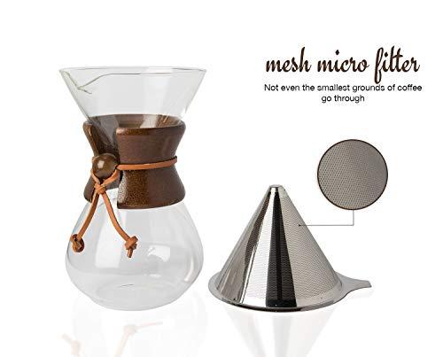 con Madera De Verdad m/óvil Pour Over Cafetera con borosilicato Grass Jarra Y Filtro de Acero Inoxidable Reutilizable/-/500ml de filtros de caf/é Manual Brauer