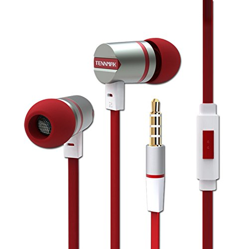 Tennmak auricolare universale con built-in Mic cuffie stereo e isolamento del rumore per iPhone iPad iPod Samsung Galaxy LG HTC e altri Smartphone / PC / Laptop (DR)(Bianco e rosso)