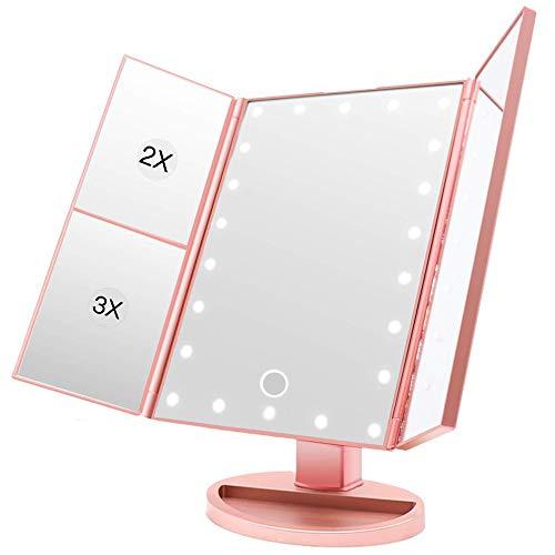 BUDDYGO Espejo Maquillaje con Luz LED, Profesional Espejo Cosmético 1X, 2X, 3X Espejo Aumento Plegable Espejos de Mesa Rotación Ajustable de 180 °, Fuente de alimentación Doble, Mejor Regalo