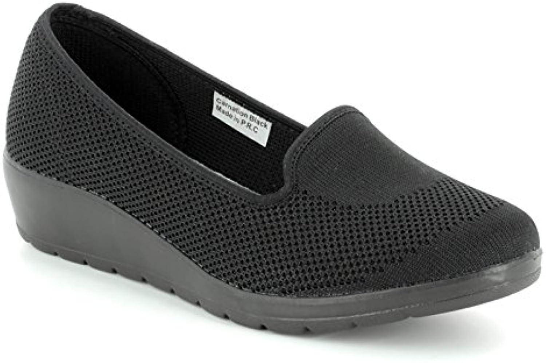 Heavenly Feet Clavel Mujer Zapatos de Cuña Negro - Negro - Tallas 3-7