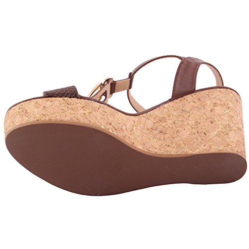 Unze New Women 'Erric' sandales ouvertes Toe Wedge Summer Beach Travel School School Carnival Chaussures Casual Taille UK 3-8 Brun