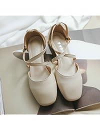 Xue Qiqi Zapatos de la Corte Negrita y solo zapatos artes hembra Baotou cabeza cuadrada y versátil, con sandalias...