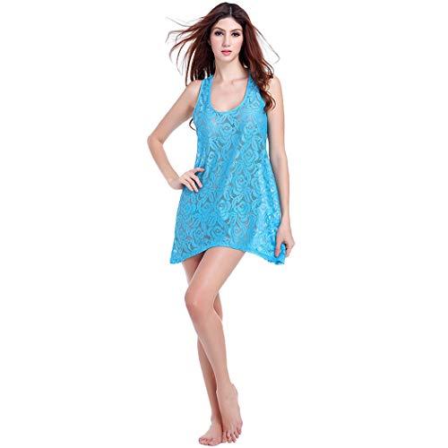 CRBH-FZ FZLadies Lace Beach Vest Dress, Korean Version of The Charming Princess Wind Beach Resort Beach Skirt Joker Fresh Hollow Crochet Flower Lace Vest Dress,Blue,OneSize