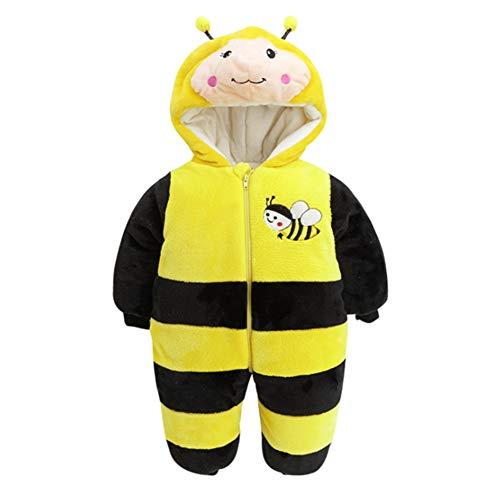 Unisex Baby Winter-Overall mit Kapuze, Bär, weiches Fleece, Einteiler, Schneeanzug Outfits Urlaubszubehör Weihnachten Kostüm, Biene, 80cm(9-12M)