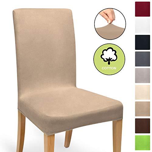 Beautissu Fodera elasticizzata per sedia Mia - 45x45 cm - pregiato cotone bielastico ÖKO-TEX Standard - nocciola