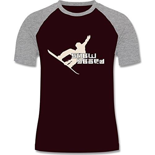 Wintersport - Snowboard - zweifarbiges Baseballshirt für Männer Burgundrot/Grau meliert