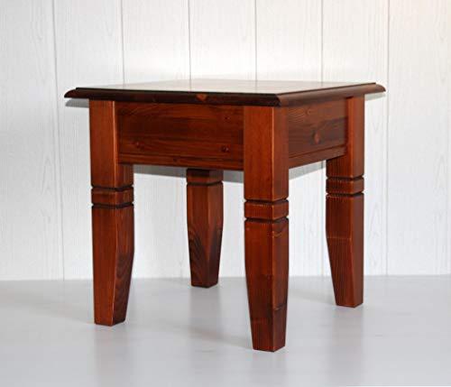 Casa Massivholz Fichte Couchtisch kirschbaumfarben 45x45 cm Beistelltisch mit Zierfräsung rotbraun