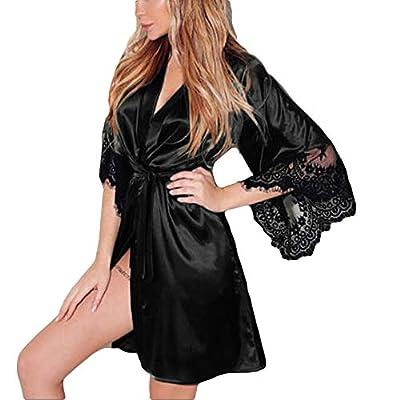 Lolamber Damen Kleid Gown Kurz Dessous Kimono Spitze Weiter Ärmel Transparente Robe Mesh mit Gürtel und G-String Bikini Cover up Spitze Sommer Bat Weiter Ärmel