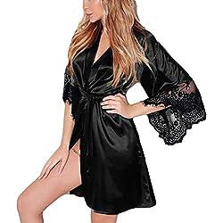 Lenfesh Batas Largas Kimono para Mujer Lenceria Ropa de Dormir Camisón de Encaje (S, A #Negro)