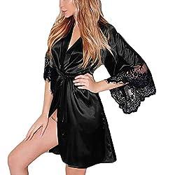 Nachthemd Yazidan Frauen Sexy Seide Kimono Dressing V-Ausschnitt Babydoll Spitze Kante Unterwäsche Gürtel Kurz Bademantel Seidig Satin Verband Nachtwäsche Volltonfarbe Schlaf-Kleid(Schwarz,M)