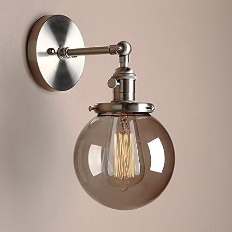 Pathson Antik Deko Design Kleine Kugel Grau Glas innen Wandbeleuchtung Wandleuchten Loft-Wandlampen Wandbeleuchtung (Gebürsteter Edelstahl