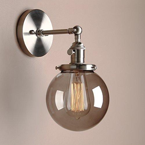 Pathson Antik Deko Design Kleine Kugel Grau Glas innen Wandbeleuchtung Wandleuchten Loft-Wandlampen Wandbeleuchtung (Gebürsteter Edelstahl Farbe)