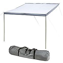 Hypercamp Parasole Sunny 260 per listelli da 7 mm, 260 x 240 cm, con aste, picchetti e corde incluse, per roulotte, camper e bus