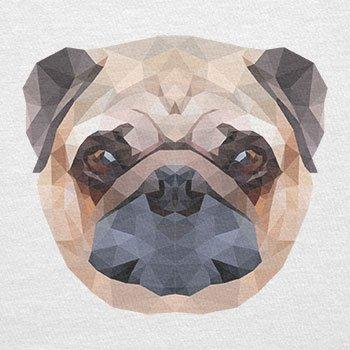 TEXLAB - Poly Pug Face - Herren T-Shirt Weiß