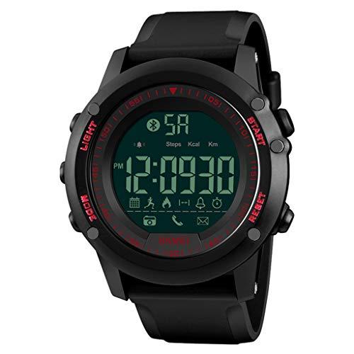 Wasserdichte Smart Watch 50ATM Fitness Armband-Uhr für Männer und Frauen - Fitness Tracker mit Herzfrequenz, Schrittzähler - Schlaf-Monitor, Anrufbenachrichtigung, Kalorienzähler UVM (rot)
