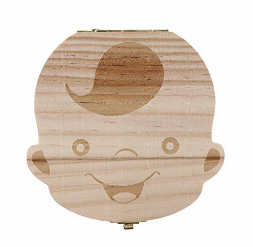 Baby boy girl memory tooth box,Malloom wooden cartoon pattern baby save organizer milk tooth wood storage souvenir box (Boy's)