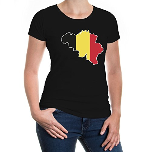 buXsbaum® Girlie T-Shirt Belgien-Shape Black-z-direct