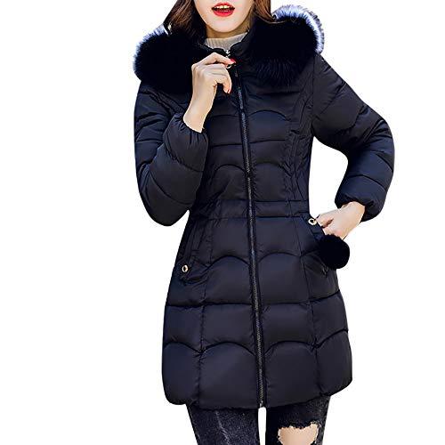 TEELONG Jacke Damen Kapuzen übertragen warmen Mantel Lange Dicke Pelzkragen Baumwolle Parka schlanke Jacke wintermantel Winterjacke Strickjacke Outdoorjacke übergangsjacke Windjacke(XL, Schwarz)