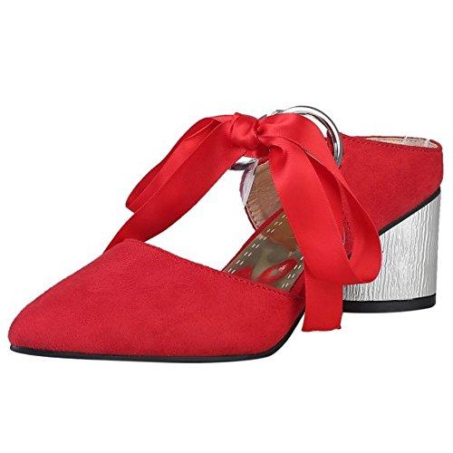 COOLCEPT Damen Mode Mitte Blockabsatz Mary Janes Sandalen Pantoletten Geschlossene Open Back Schuhe Rot