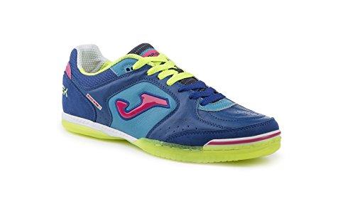 Joma Top Flex 605 Salão Interior Sapatos De Couro Azul Sapatos De Futebol Azul