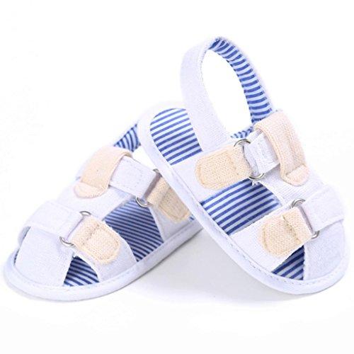 Reasoncool Del bambino del bambino di tela Ragazzi svegli pattini della greppia T-legato sandali morbida Prewalker morbido Bianco