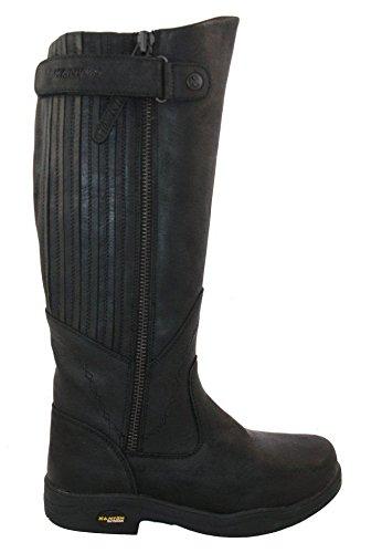 Ladies Kanyon Eau d'ajonc imperméables en cuir Largeur standard Ex.Wide Country Bottes mi-mollet/8 Noir - Nero (nero)