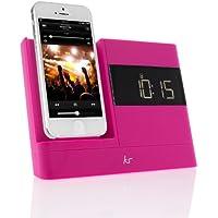 KitSound XDOCK 2 Radio Réveil avec Station d'Accueil et Connecteur Lightning pour iPhone 5/ iPhone SE/iPod Nano 7/iPod Touch 5 - Livré avec Prise EU - Rose