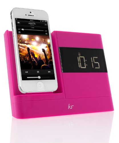 KitSound XDOCK2 Radio Uhr Dockingstation/Ladegerät mit Lightning Anschluss für iPhone 5/5S/5C/SE, iPod Nano 7. Generation and iPod Touch 5. Generation (EU Netzstecker) - Pink (Ipod 5 Dock Pink)
