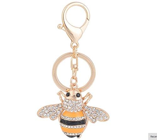 Qinlee Keyrings Bee Pendant Key Ring Key Chain Holder Clip Keyfobs Car Keyring Keychain Handbag Buckle Charms Accessories(Golden color)