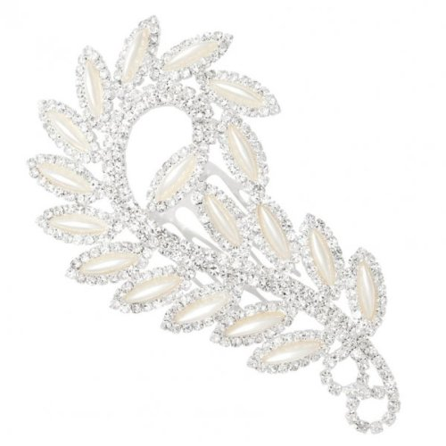 Jon Richard Pearl Marquis And Diamante Crystal Swirl Hair Comb METALLIC