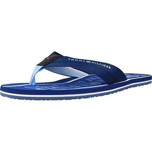 Hilfiger Denim Tj Leather Footbed Beach Sandal, Chanclas para Hombre, Azul (Ink-Tango Red 903), 41 EU Tommy Jeans