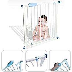 Todeco - Barrière de Sécurité pour Bébé, Barrière Ajustable pour Porte - Largeur: 74-87 cm - Hauteur: 74 cm - 74 à 87cm, Blanc