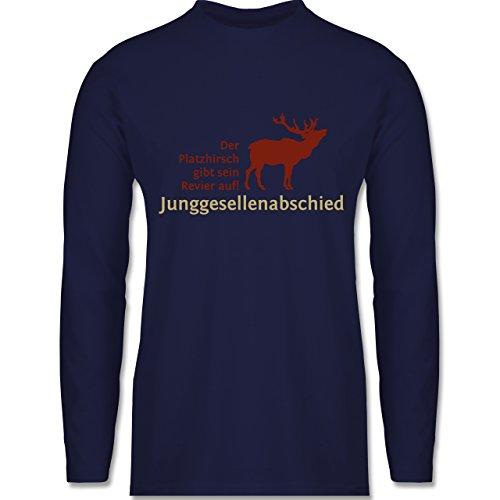 JGA Junggesellenabschied - Platzhirsch - Longsleeve / langärmeliges T-Shirt für Herren Navy Blau